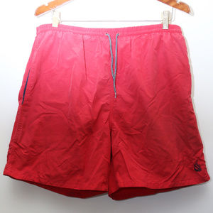 "90's Vintage ""NAUTICA"" Logo Red Nylon Swim Trunks"